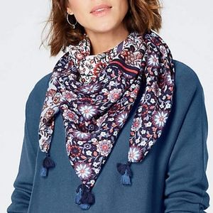 J. Jill Tossed-Filigree Patchwork Square Scarf NWT